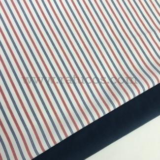Combinación de telas: Algodón Camisería Fil a Fil Rayas Azul
