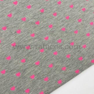 Tela de punto de camiseta con estampado flúor