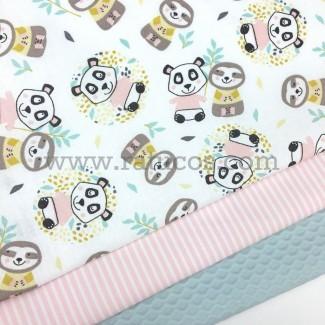 Combinación de telas: Popelín Pandas rosas serie Pandas and Friends