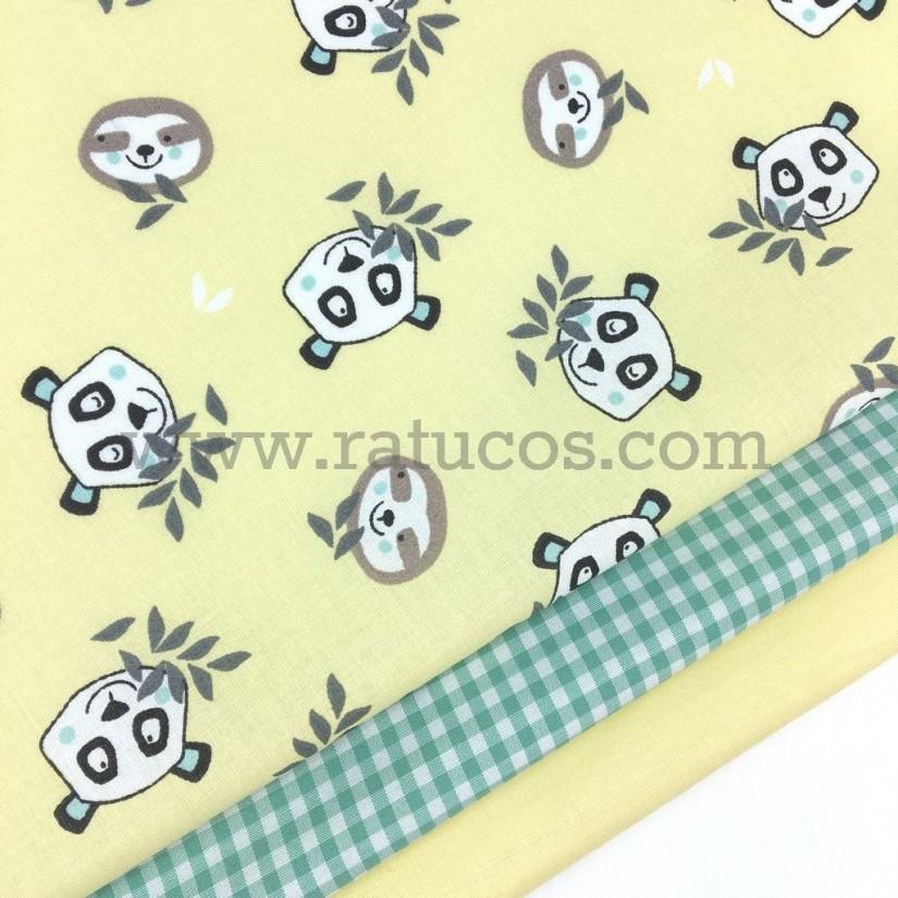 Combinación de telas: Popelín Pandas amarillo Serie Bambú