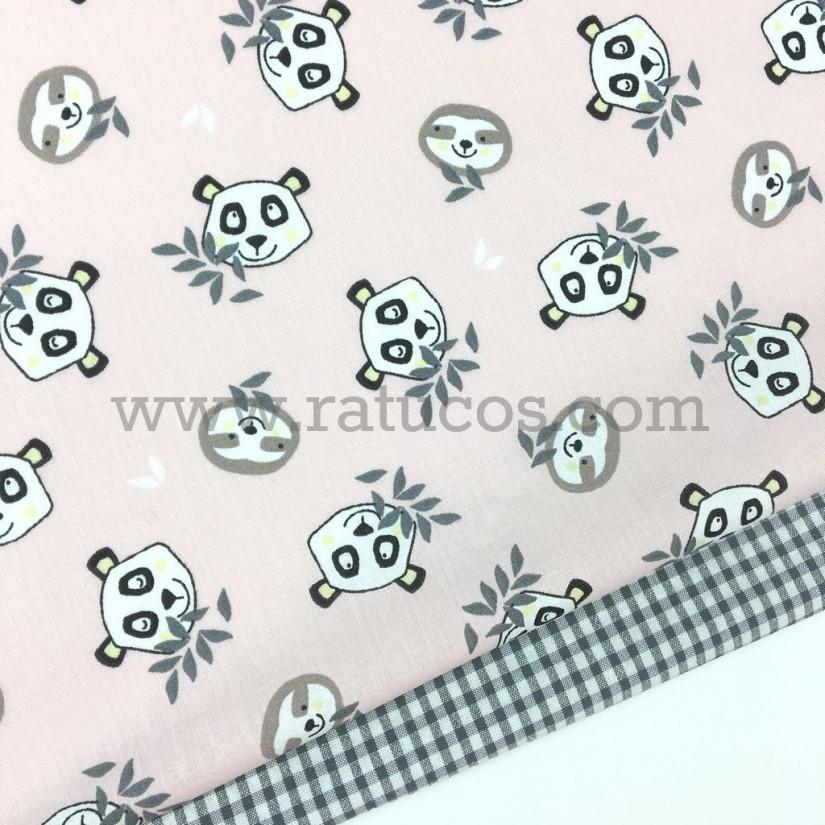 Combinación de telas: Popelín Pandas Rosa Serie Bambú