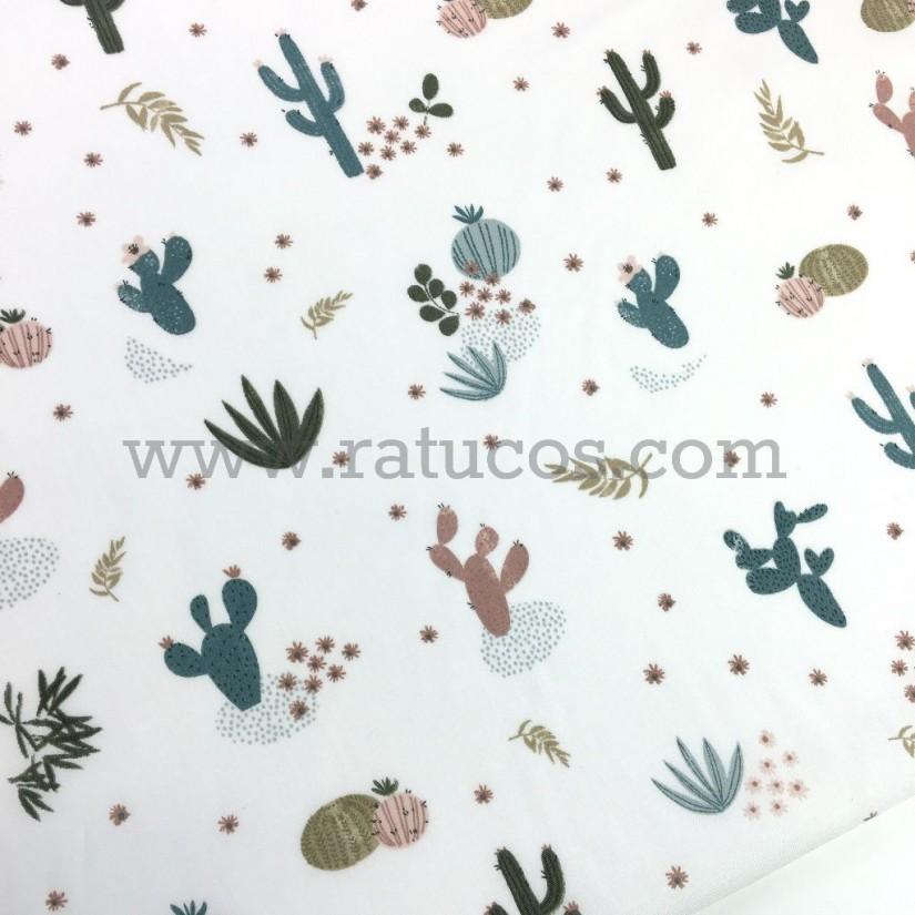 Tela de popelín con estampado de cactus. Tela con certificado Oeko-Tex®