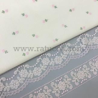 Combinación de telas: Piqué crudo bordado flor rosa