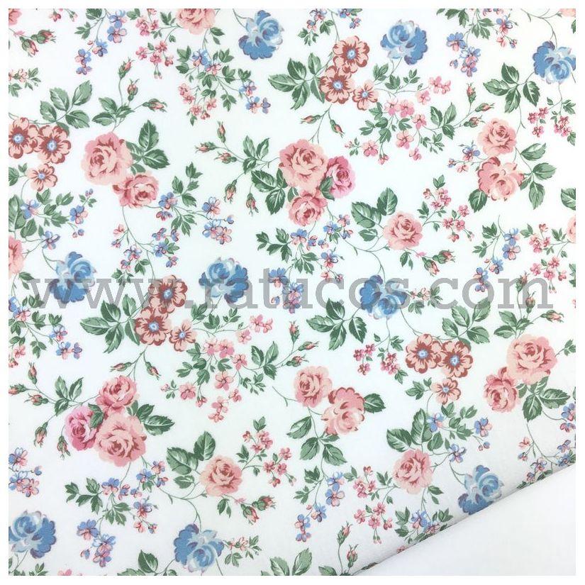 Algodón Popelín Toile Rosas Rosa//Blanco-Confección Tela Floral