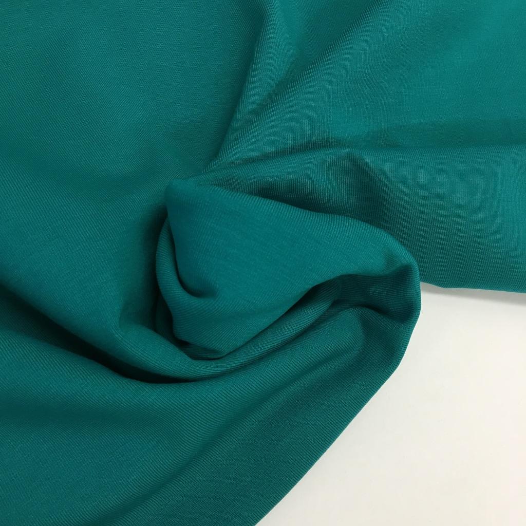 Tela de punto de camiseta en color verde océano