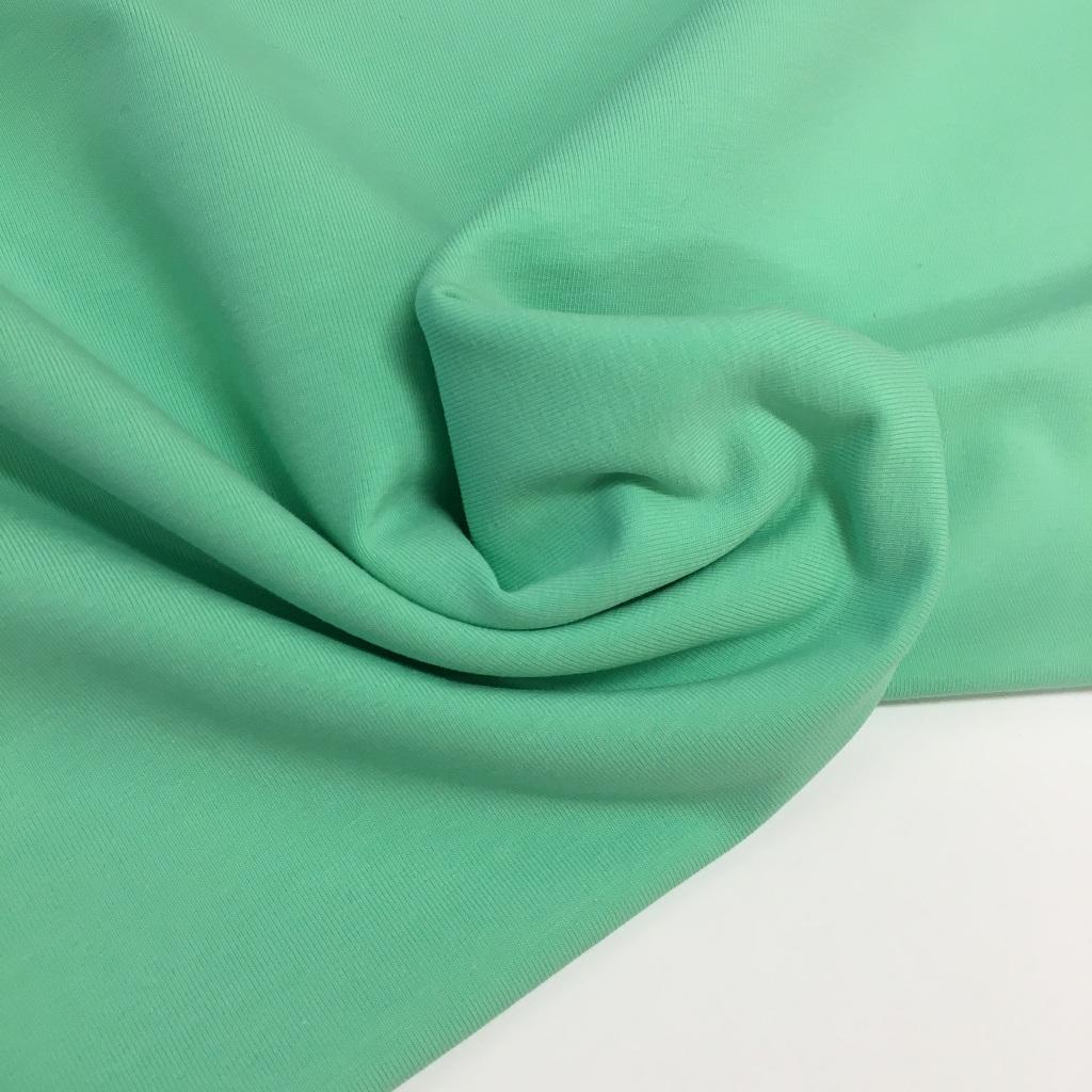 Tela de punto de camiseta en color verde mint