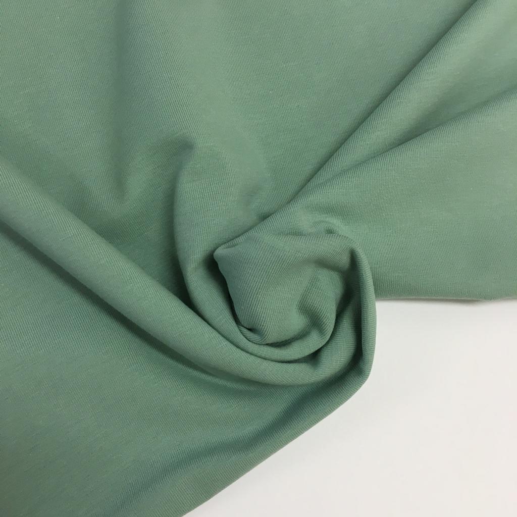 Tela de punto de camiseta en color verde olivo