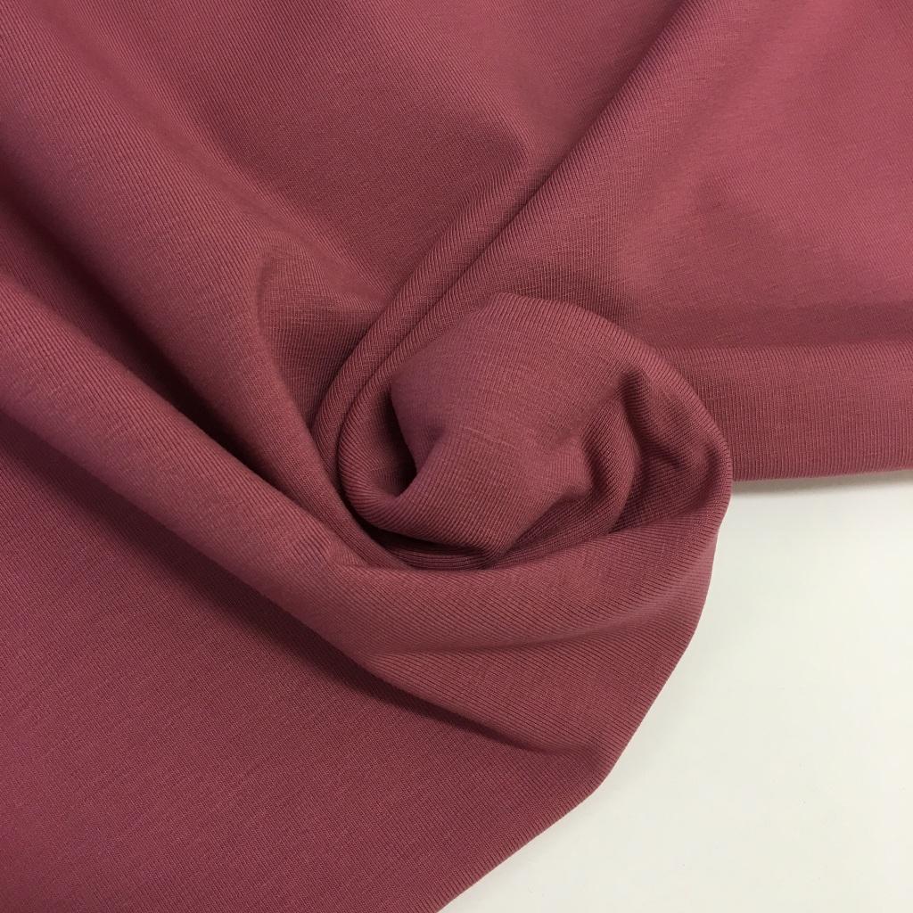 Tela de punto de camiseta en color rosa smoke