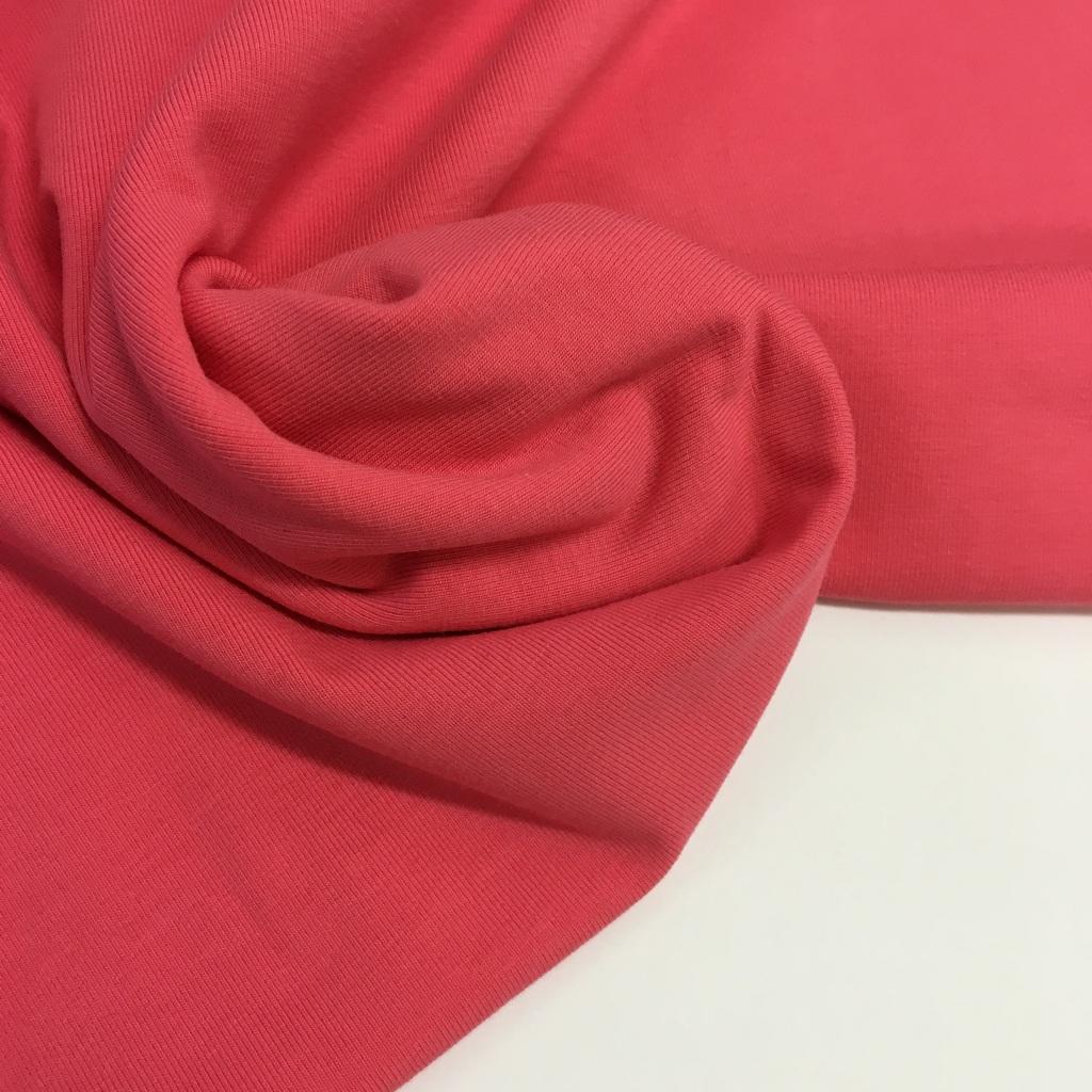 Tela de punto de camiseta en color rosa coral