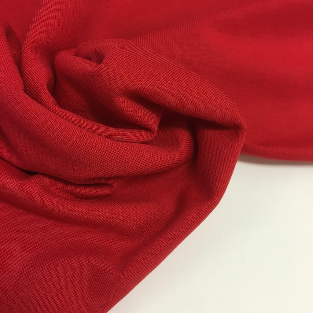 Tela de punto de camiseta en color rojo