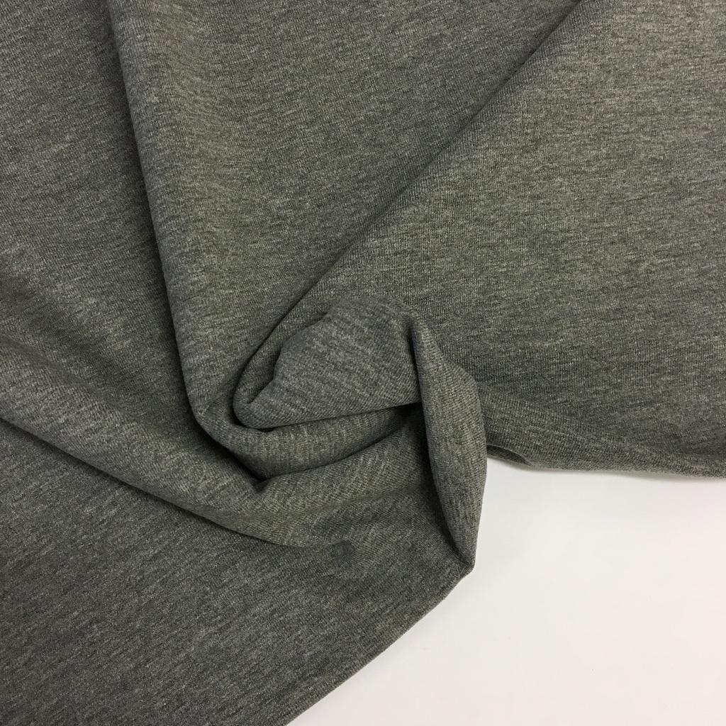 Tela de punto de camiseta en color gris melange