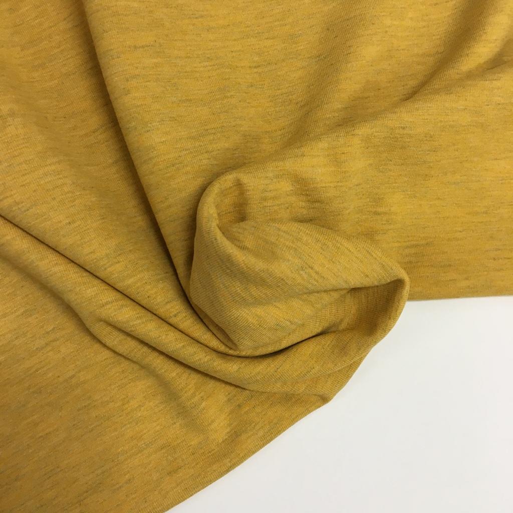 Tela de punto de camiseta en color ocre melange