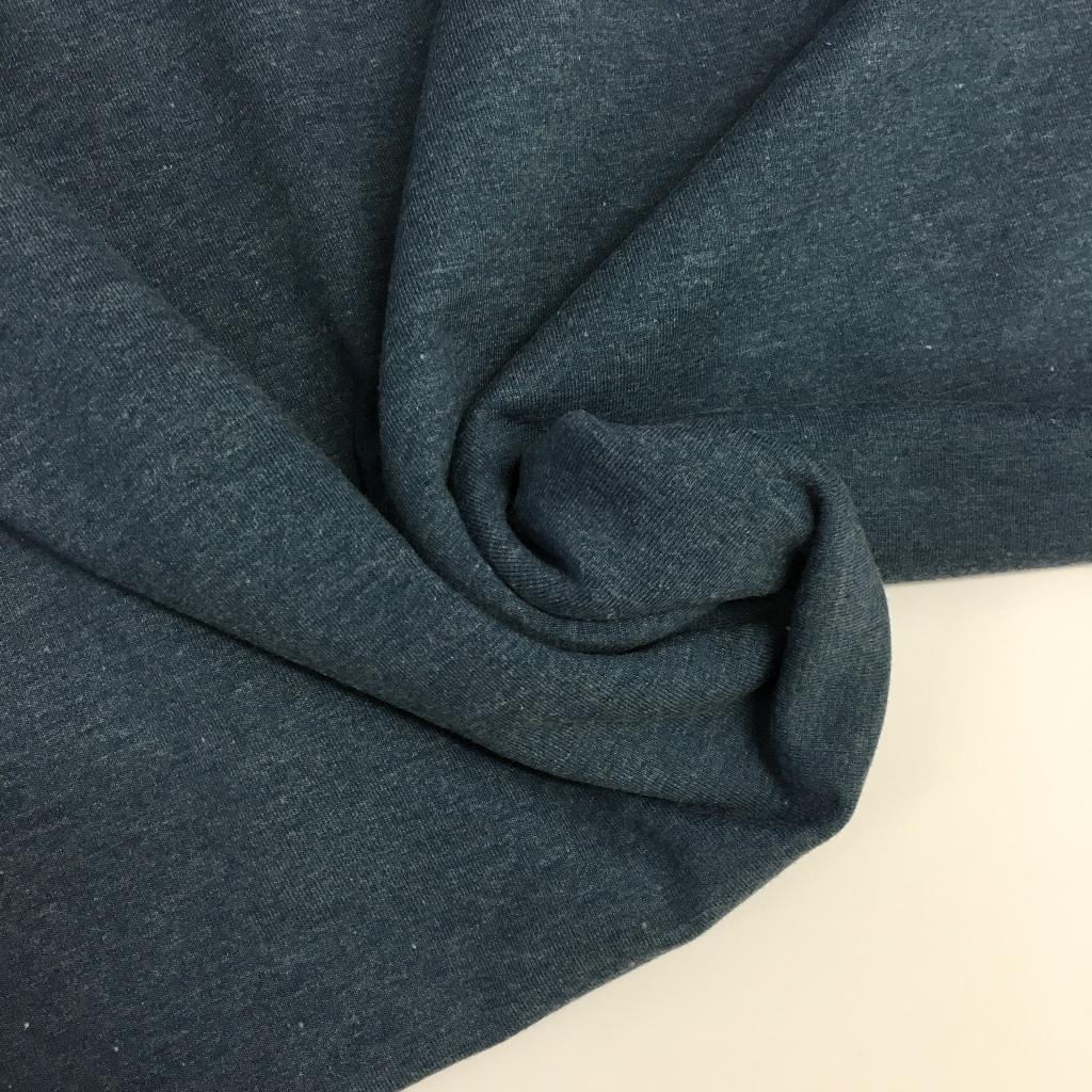 Tela de punto de camiseta en color azul melange