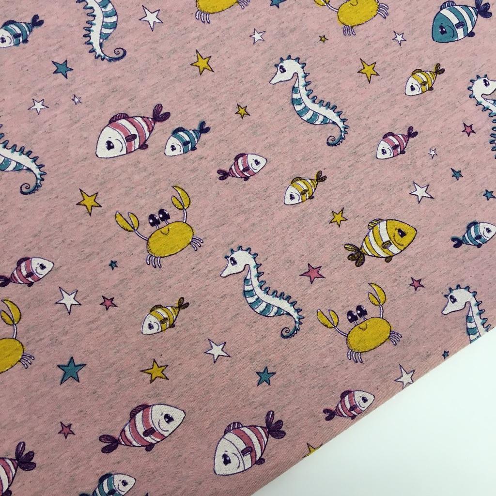 Tela de punto de camiseta disponible en dos colores, colección Pececillos